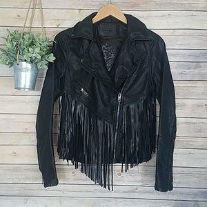 BLANK NYC Vegan Leather Fringe Moto Jacket